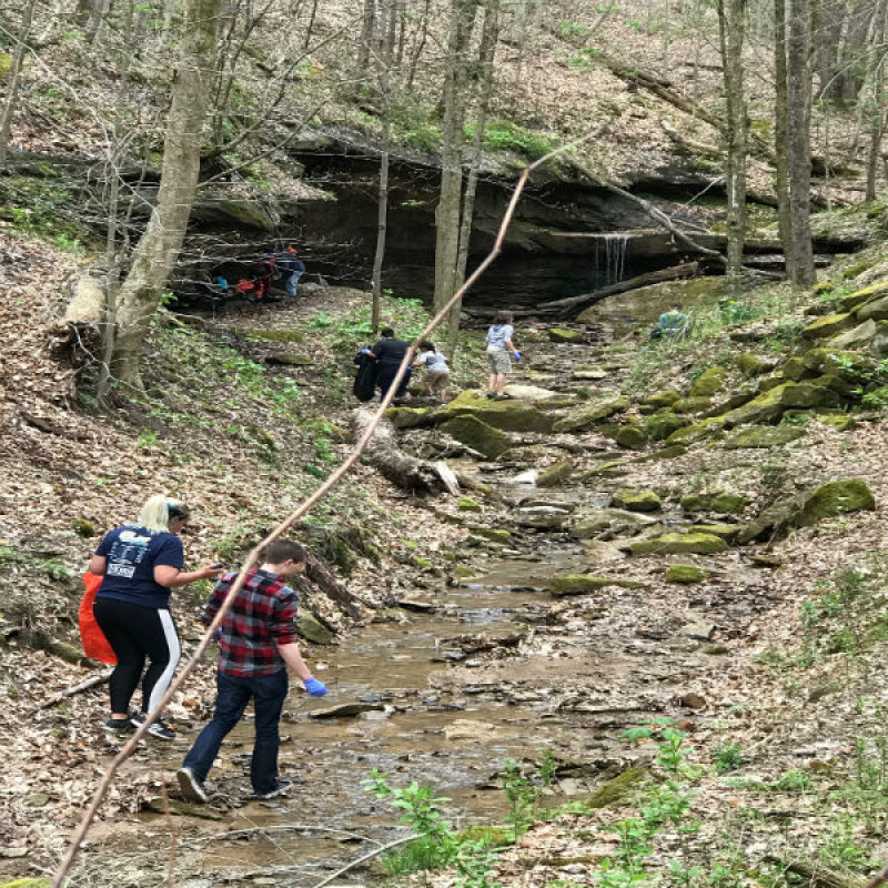 Clean-up on Earth Day at the water fall